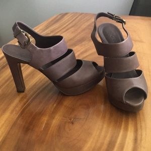 J. Crew Collins grey platform leather peep toe